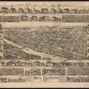 1889 New Glasgow Map Birds eye view map