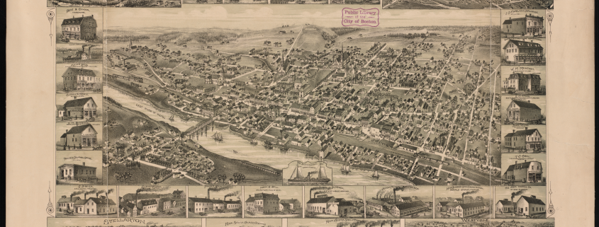 1889 New Glasgow Map Birds eye view map