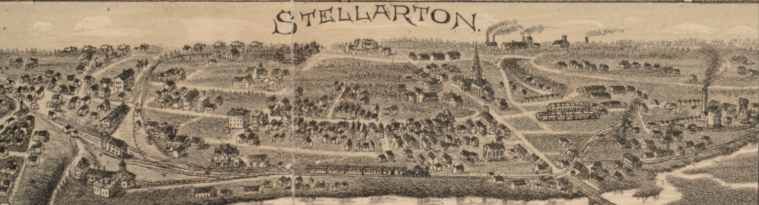 1889 Stellarton Map Birds eye view map