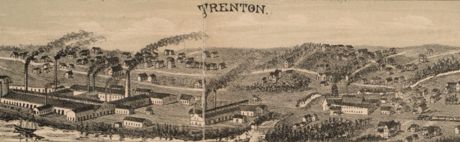1889 Trenton Map Birds eye view map