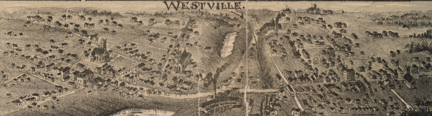 1889 Westville Map Birds eye view map