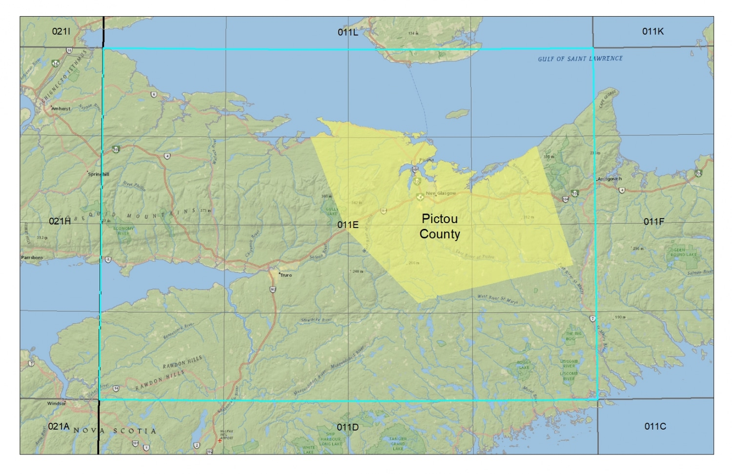 Pictou County Topographic Maps - Topographic NTS map grid