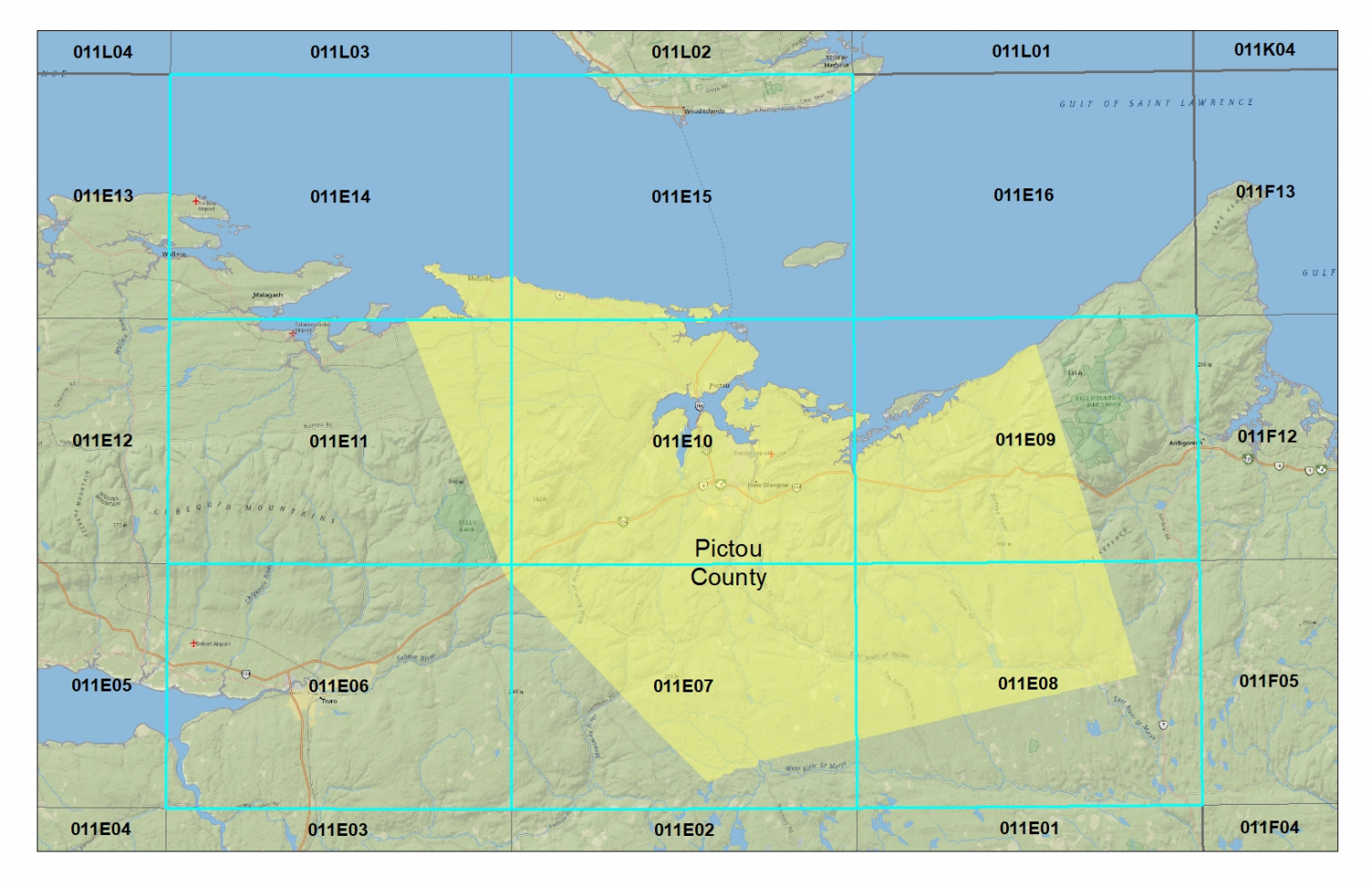 Pictou County Topographic Maps - NTS topographic maps